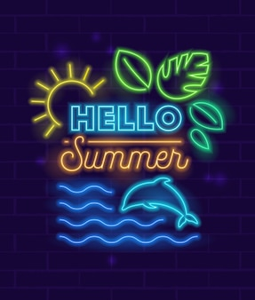 Hello summer poster with neon style glowing elements and typography on brick wall background.