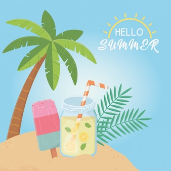 Hello summer poster with seascape scene
