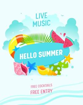 Привет, летний плакат с летними предметами