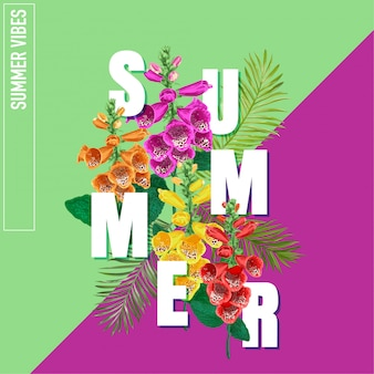 Hello summer poster with tropical flowers