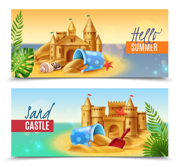 Hello summer realistic banners