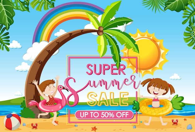 Hello summer sale banner with many kids at the beach