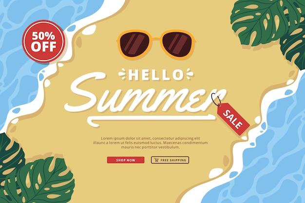 Hello summer sale flat design