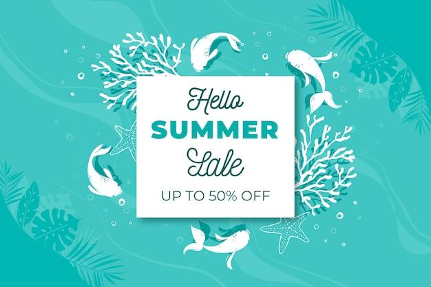Hello summer sale in flat design