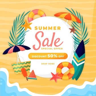 Hello summer sale flat design