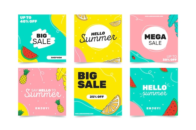 Hello summer sale instagram post collection