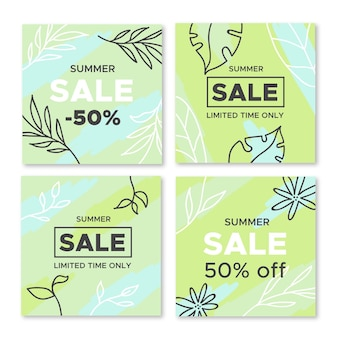 Hello summer sale instagram post pack