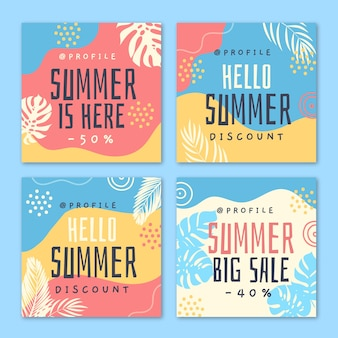 Hello summer sale instagram post template