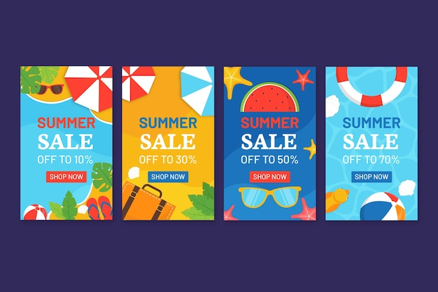 Hello summer sale instagram story pack template