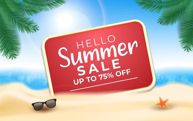 Привет, летняя распродажа, вывеска с морским пляжем и пальмовыми листьями