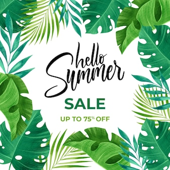 Hello summer sale watercolour style