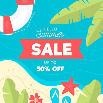 Hello summer sale with beach and palm trees