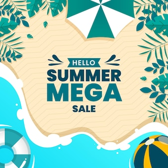 Hello summer sale with beach