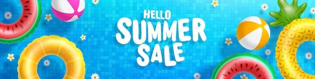 안녕하세요 여름 판매 타일 된 풀 배경에서 물에 다채로운 플로트.
