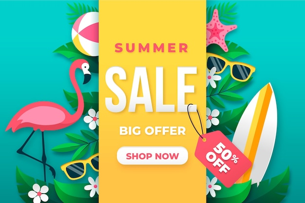 Hello summer sale with flamingo and sunglasses