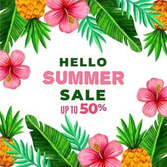 꽃과 잎으로 안녕하세요 여름 세일