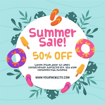 Hello summer sale with leaves and flip flops