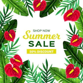 Hello summer sale with leaves and flowers