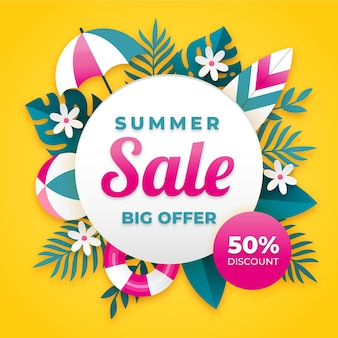 Hello summer sale with leaves and umbrella