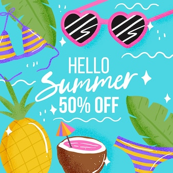 Hello summer sale with pineapple and coconut