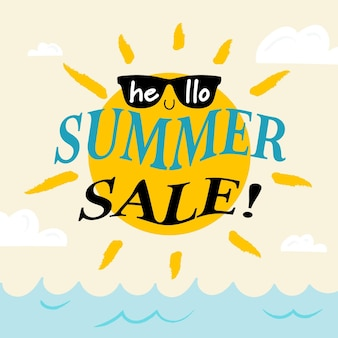 Hello summer sale with sun wearing sunglasses