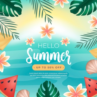 Hello summer sale with watermelon and leaves