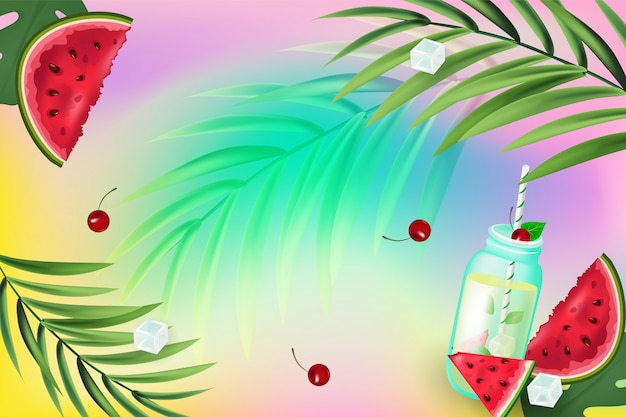 Привет лето. бесшовный фон с арбузами, мороженое, пальмовая ветвь, кубики льда на фоне красочных лет. красочная иллюстрация
