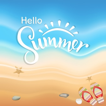 Hello summer season on the beach blue wave design, vector illustration.