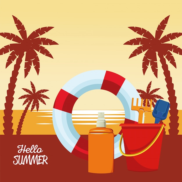 근 위 기병 연대 float 및 sandbucket와 함께 여름 계절 현장 안녕하세요