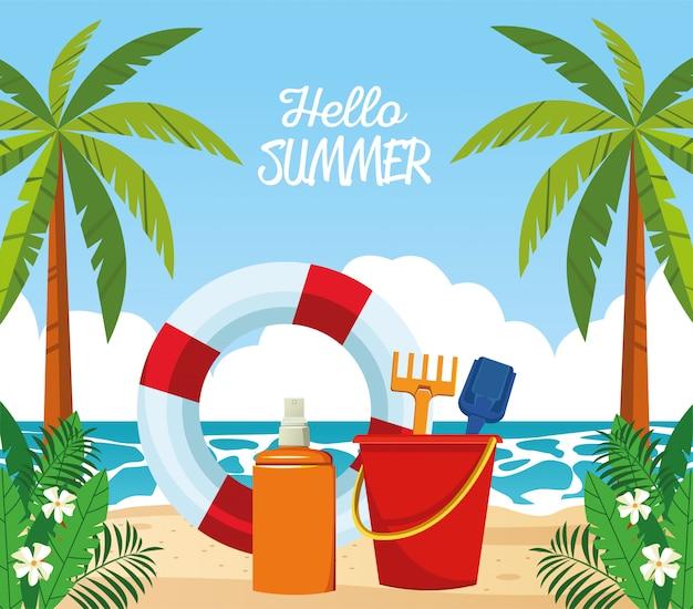 Hello summer seasonal scene with lifeguard float and sandbucket
