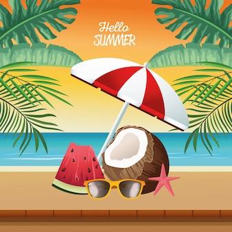 Hello summer seasonal scene with umbrella and coconut