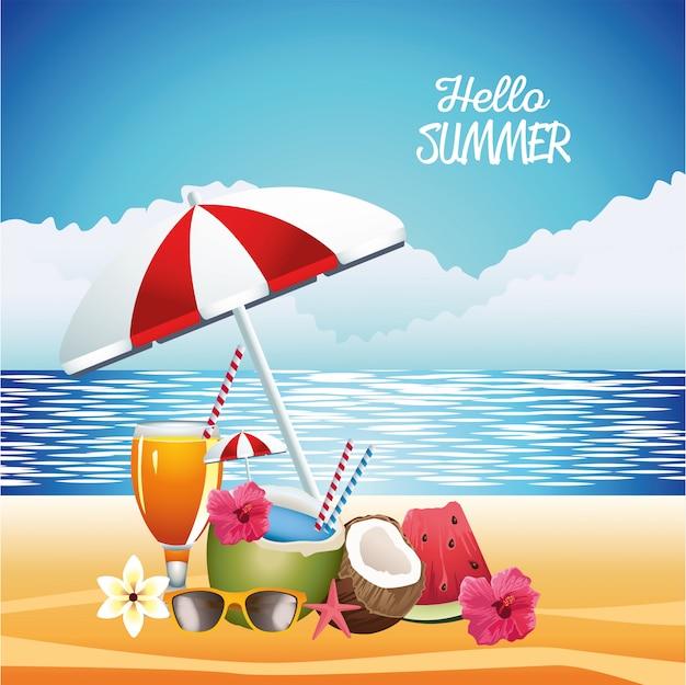 Hello summer seasonal scene with umbrella and coconut Premium Vector