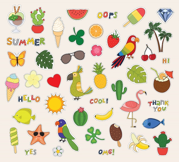 Hello summer. set of cute stickers palms, fruits, parrot, ice cream, sun, cactus and others.