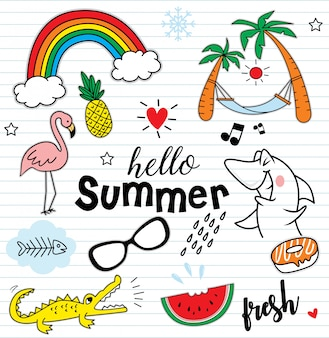 こんにちは、カラフルな要素の夏セット
