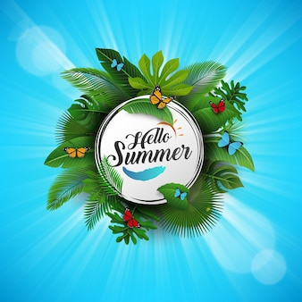 Hello summer sign with tropical leaves and blue background