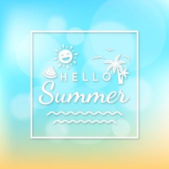 こんにちは夏の空と砂のぼやけたデザイン