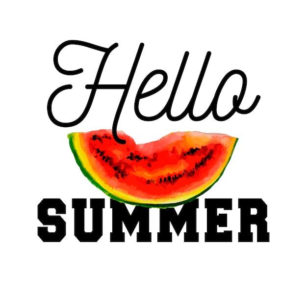 Здравствуйте, летний лозунг акварельные иллюстрации арбуза на текстуру бумаги. иллюстрации.
