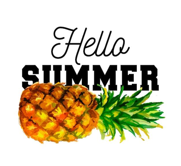 Hello summer slogan watercolor illustration of pineapple. eps 10. no transparency. gradients.
