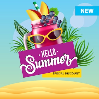 Hello summer special discount poster with mug of berry smoothie, sunglasses, tropical leaves