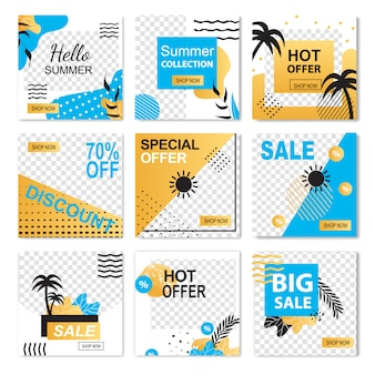 Hello summer special offer hot collection sale discount banner set