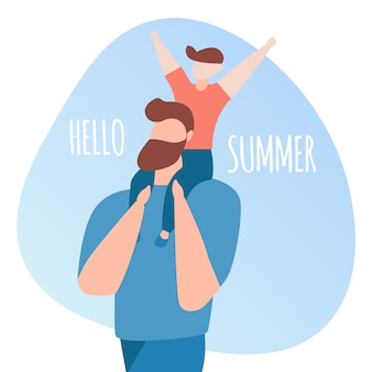 Hello summer square banner with happy family of little cheerful