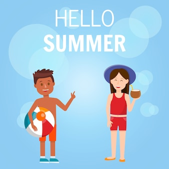 Hello summer square banner