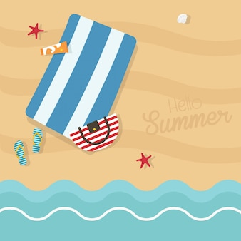 Hello summer square illustration. top view of exotic empty beach with striped blue towel, bag, sun cream, slippers