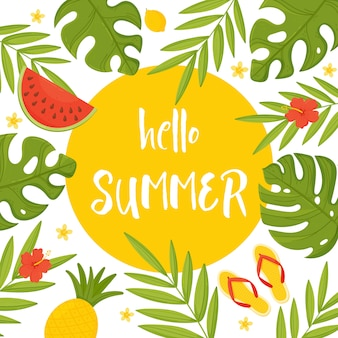 Hello summer. summer banner with tropical leaves and fruits.