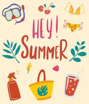 안녕하세요 여름입니다. 비문이 있는 여름 카드. 해변 휴가, 수중 마스크, 칵테일 및 딸기를 위한 항목. 여름 시간 포스터입니다. 포스터, 엽서 및 초대장 인쇄용. 벡터 일러스트 레이 션