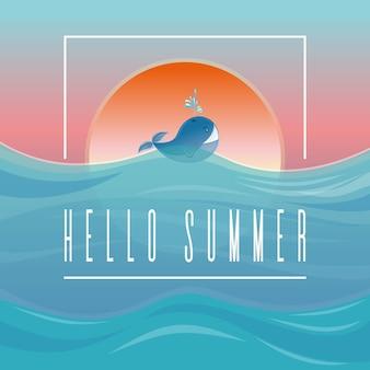 안녕하세요 여름입니다. 여름 디자인입니다. 석양에 대 한 파도에 고래. 삽화