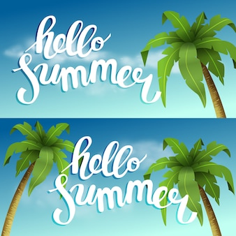 Hello summer, summer time. the poster against the background of the beach with palm trees and clouds. handdrawn, lettering design for invitation and greeting card.