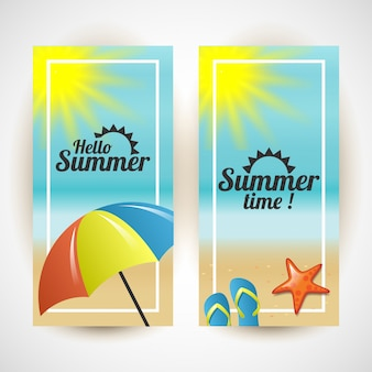 Hello summer. summer time vertical colorful illustration