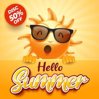 Hello summer sun character illustration
