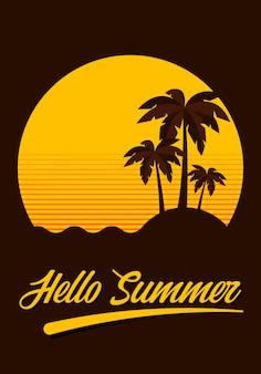 Hello summer. sunset beach scenery in vintage retro style